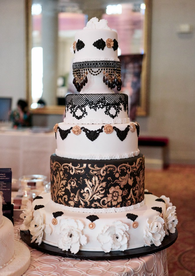 Edible Designs Houston Black Gold Wedding Cake