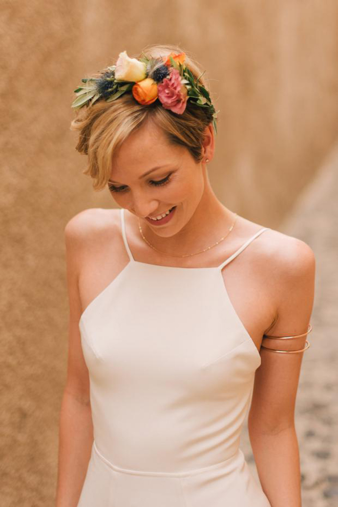 Wedding Hairstyles, Short Hair, Flower Crown, Pixie