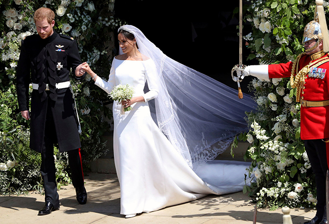 Royal Wedding, Meghan Markle, Prince Harry, Givenchy, Long Sleeve Gown, White Wedding Dress