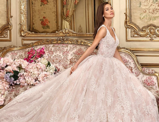 Demetrios Wedding Gown Blush Lace Houston Texas