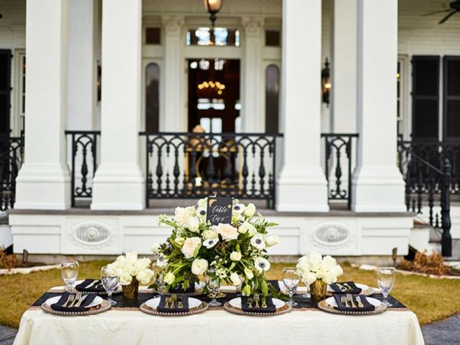 best houston florists events de luxe black white green reception table civic photos