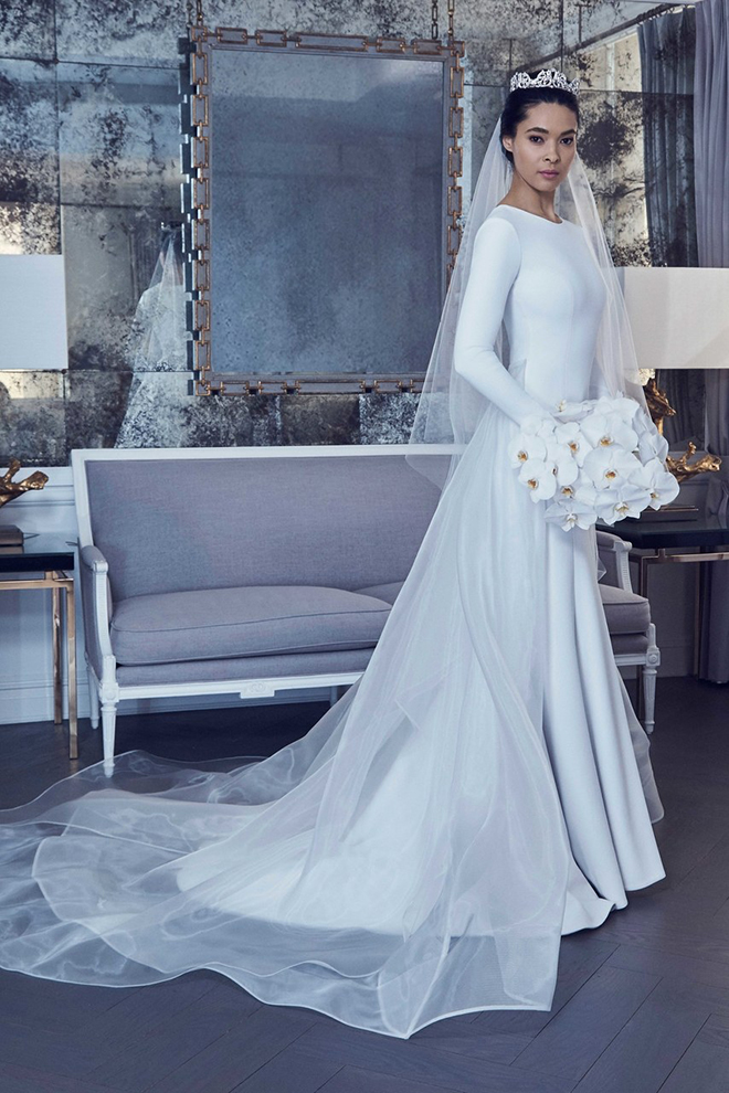 Royal Wedding, Meghan Markle, Prince Harry, Givenchy, Long Sleeve Gown, White Wedding Dress, Romona Keveza
