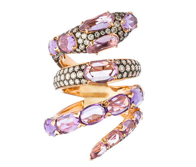 bridal jewelry, designer jewels, stacked rings, wedding bands, engagement rings, amethyst, purple gemstone, snake wrap ring, gold