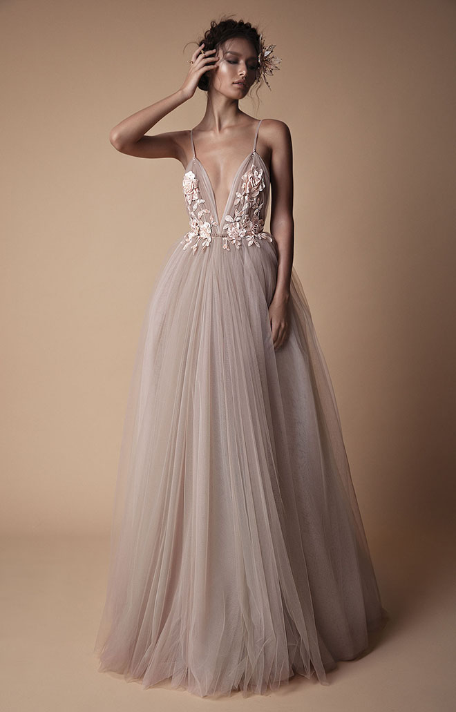 Wedding Dress, Non-White, Berta, V-Neck, strappy, Boho, Blush, Dusty Pink, Designer Wedding Dress