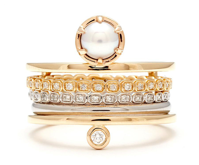 bridal jewelry, designer jewels, stacked rings, wedding bands, engagement rings, pearl, yellow gold, diamonds, stacks