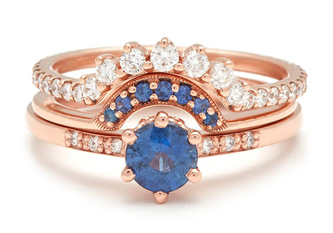 bridal jewelry, designer jewels, stacked rings, wedding bands, engagement rings, sapphire, stacks
