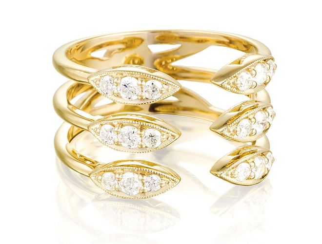 bridal jewelry, designer jewels, stacked rings, wedding bands, engagement rings, yellow gold, diamonds,