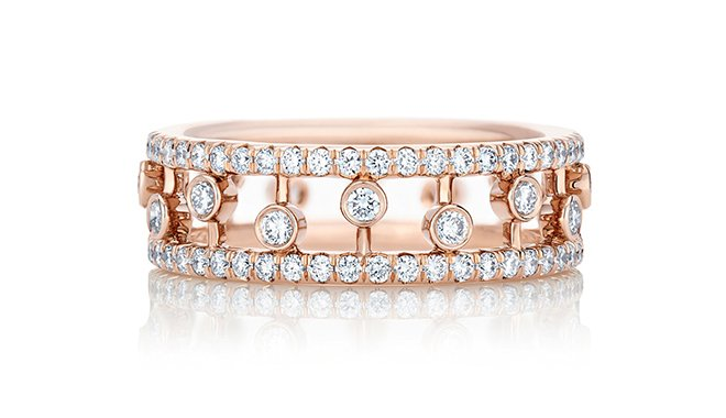 bridal jewelry, designer jewels, stacked rings, wedding bands, engagement rings, rose gold, diamonds