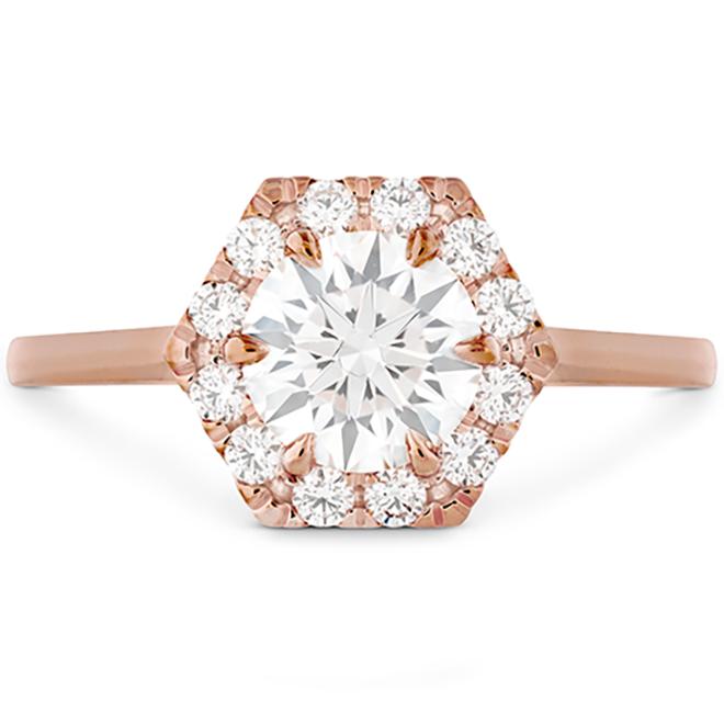 Diamond Engagement Ring, Unique Engagement Ring, Diamon & Rose Gold