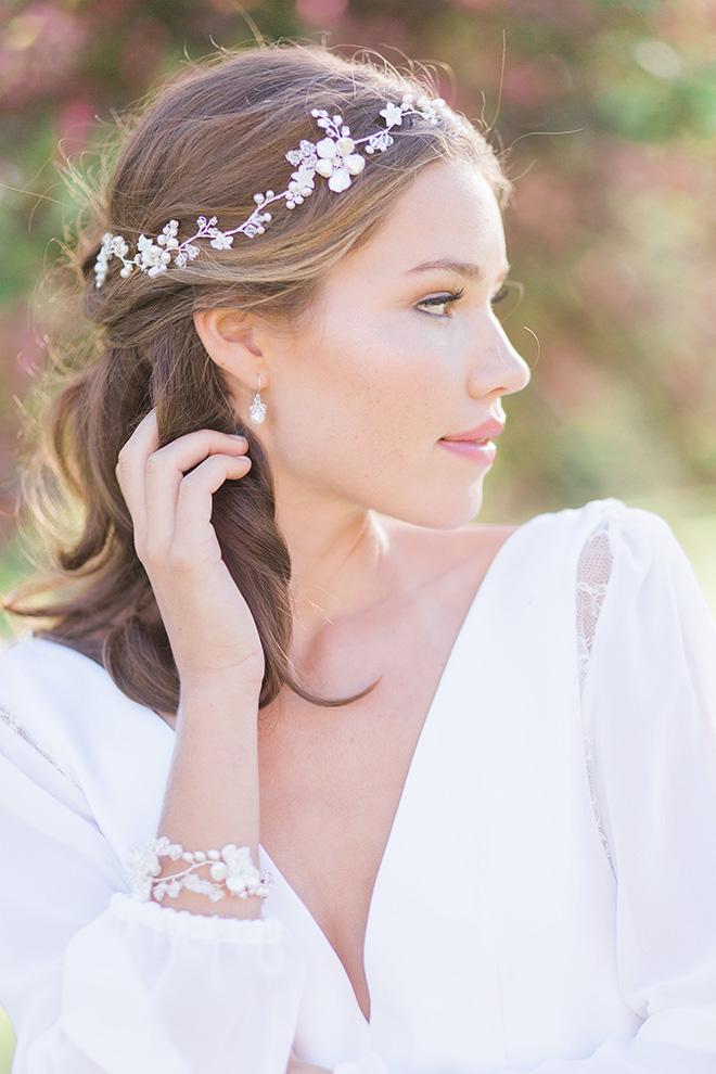 Hermione Harbutt, Bridal Headpiece, headpieces, vine, floral, bridal look