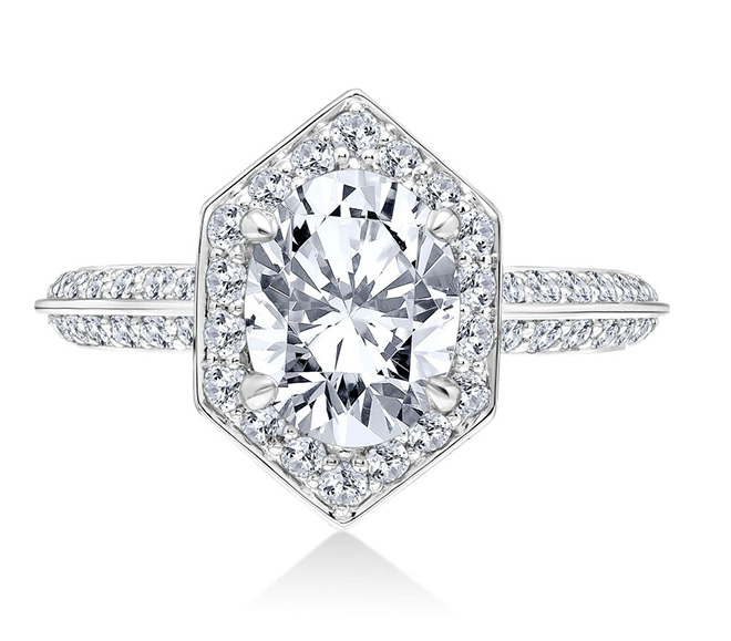 Karl Lagerfeld Diamond Hexagon Halo Engagement Ring, Unique Engagement Ring, Diamond RIng