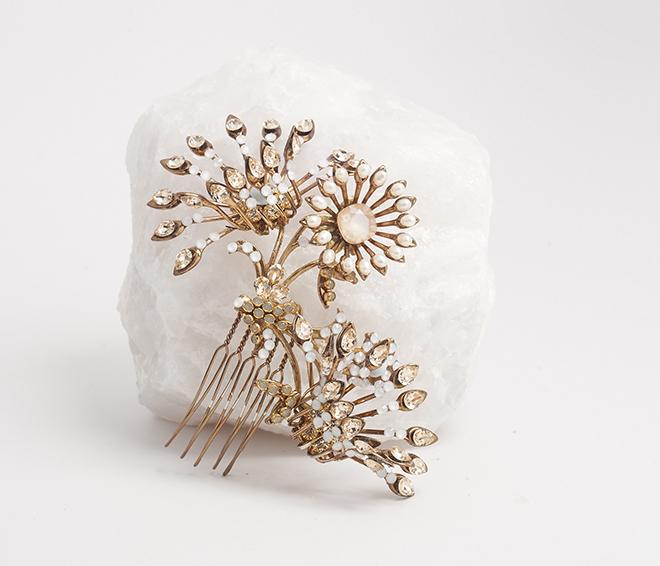 bridal headpieces, headpieces, gold, crystal, comb, encrusted, Maria Elena