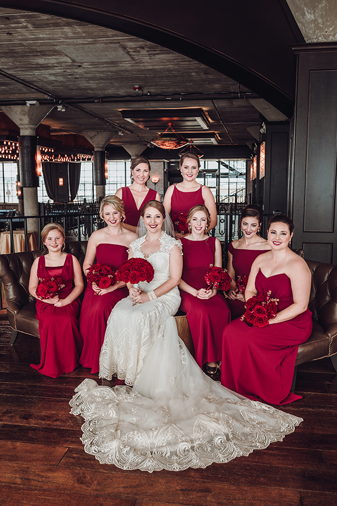 Real Wedding, Houston Couple, Newlywed, The Astorian, Ama by Aisha, Winter Wedding, Red Wedding, Marine, Military, Cordua Catering, Cakes By Gina, Bridesmaids