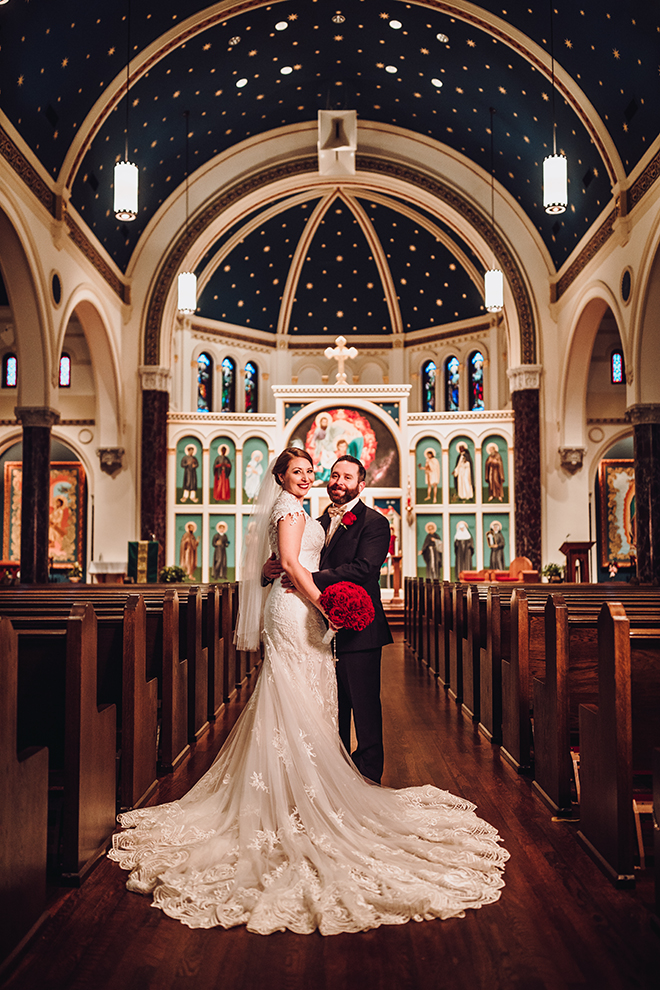 Real Wedding, Houston Couple, Newlywed, The Astorian, Ama by Aisha, Winter Wedding, Red Wedding, Marine, Military, Cordua Catering, Cakes By Gina, Ceremony, Catholic Church