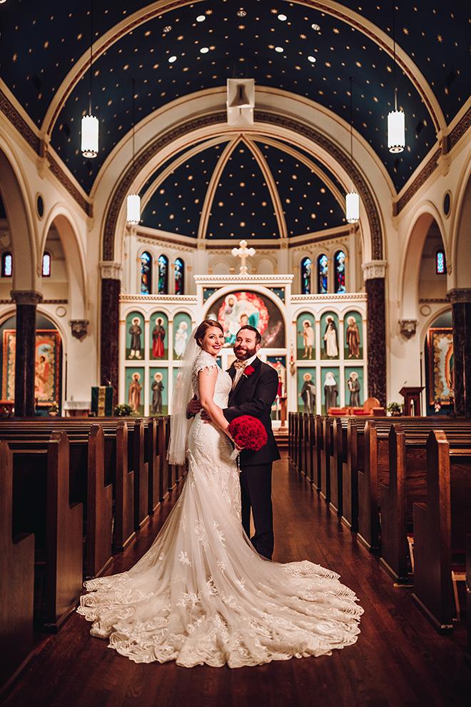 Real Wedding, Houston Couple, Newlywed, The Astorian, Ama by Aisha, Winter Wedding, Red Wedding, Marine, Military, Cordua Catering, Cakes By Gina, Ceremony, Catholic Church