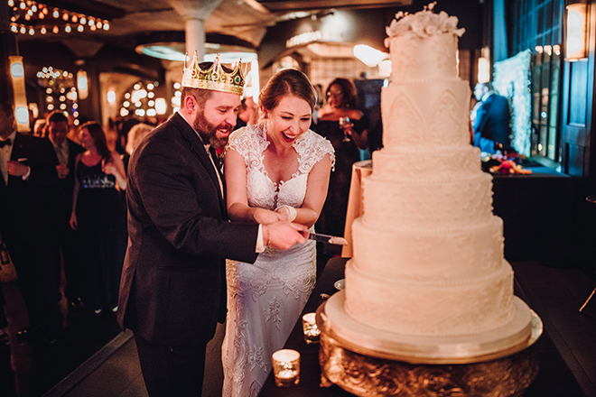 Real Wedding, Houston Couple, Newlywed, The Astorian, Ama by Aisha, Winter Wedding, Red Wedding, Marine, Military, Cordua Catering, Cakes By Gina, Cake Cutting