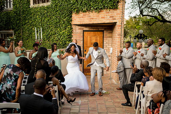 Houston, Real Wedding, Newlywed, Black Couple, The Breakfast Klub, The Gallery, Outdoor Wedding Ceremony, Mint, Orange, and Pink, Gray Suits Jumping the Broom, KC Events & Florals, Cafe Natalie, Any Occasion Rentals