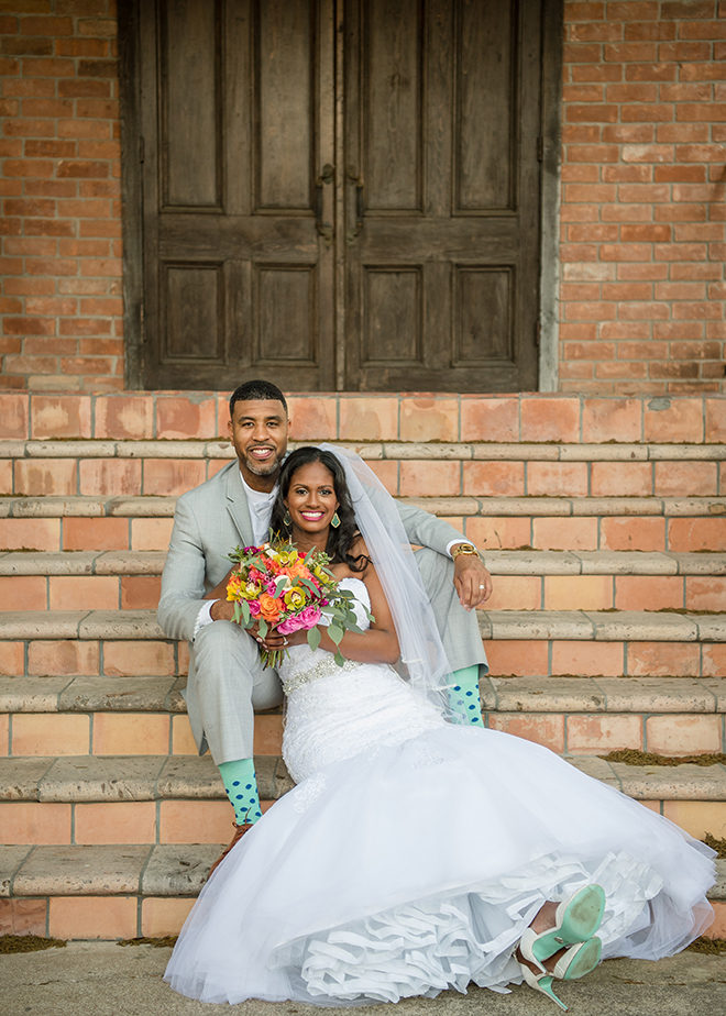 Houston, Real Wedding, Newlywed, Black Couple, The Breakfast Klub, The Gallery, Outdoor Wedding Ceremony, Mint, Orange, and Pink, Gray Suits Jumping the Broom, KC Events & Florals, Cafe Natalie, Any Occasion Rentals, Bride & Groom