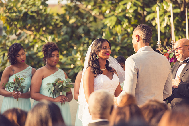 Houston, Real Wedding, Newlywed, Black Couple, The Breakfast Klub, The Gallery, Outdoor Wedding Ceremony, Mint, Orange, and Pink, Gray Suits Jumping the Broom, KC Events & Florals, Cafe Natalie, Any Occasion Rentals, Vows