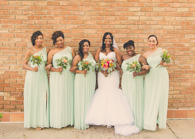 Houston, Real Wedding, Newlywed, Black Couple, The Breakfast Klub, The Gallery, Outdoor Wedding Ceremony, Mint, Orange, and Pink, Gray Suits Jumping the Broom, KC Events & Florals, Cafe Natalie, Any Occasion Rentals, Bridesmaids