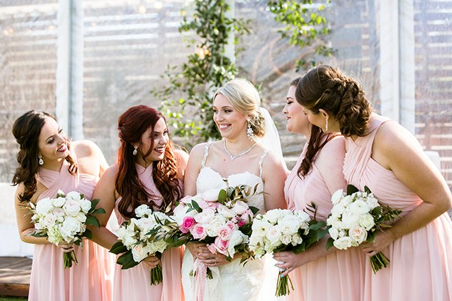 Houston, Real Wedding, Newlywed, Hughes Manor, Outdoor and Indoor Venue, Winter Wedding, Pink, Gold, White, Young Couple, Meeker Pictures, Hughes Manor, Cakes by Gina, Cordua Catering, Winnie Couture, Bella Bridesmaids, Bridesmaids