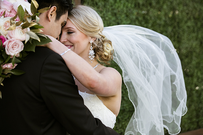 Houston, Real Wedding, Newlywed, Hughes Manor, Outdoor and Indoor Venue, Winter Wedding, Pink, Gold, White, Young Couple, Meeker Pictures, Hughes Manor, Cakes by Gina, Cordua Catering, Winnie Couture, Bella Bridesmaids, Bride, Groom, Veil