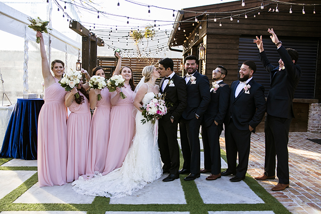 Houston, Real Wedding, Newlywed, Hughes Manor, Outdoor and Indoor Venue, Winter Wedding, Pink, Gold, White, Young Couple, Meeker Pictures, Hughes Manor, Cakes by Gina, Cordua Catering, Winnie Couture, Bella Bridesmaids, Bridal Party, Wedding Party