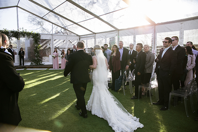 Houston, Real Wedding, Newlywed, Hughes Manor, Outdoor and Indoor Venue, Winter Wedding, Pink, Gold, White, Young Couple, Meeker Pictures, Hughes Manor, Cakes by Gina, Cordua Catering, Winnie Couture, Bella Bridesmaids, Ceremony, Walk Down the Aisle