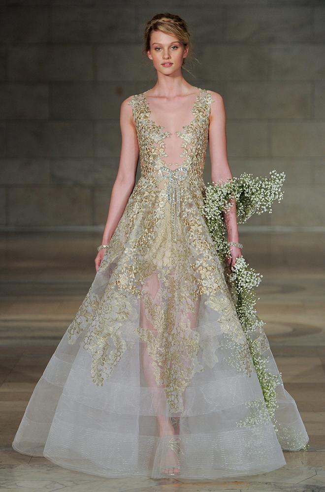 Non-White Dress, Designer, Gold Gown, Joan Pillow Bridal Salon