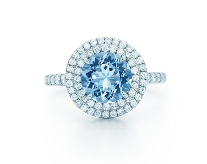 Tiffany Diamond and Aquamarine Engagement Ring, Unique Engagement Ring, Cushion Cut