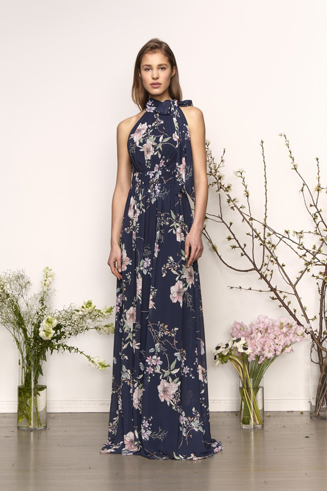 monique lhuillier floral print halter bridesmaid dress navy blush