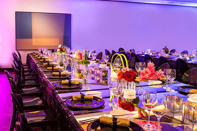 JW Marriott Houston Downtown wedding booking special hotel sophisticated Texas city elegant hotel wedding mirror table purple pink modern