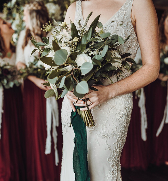 wedding bouquet, bride, white roses, baby's breath, greenery, bridal bouquets