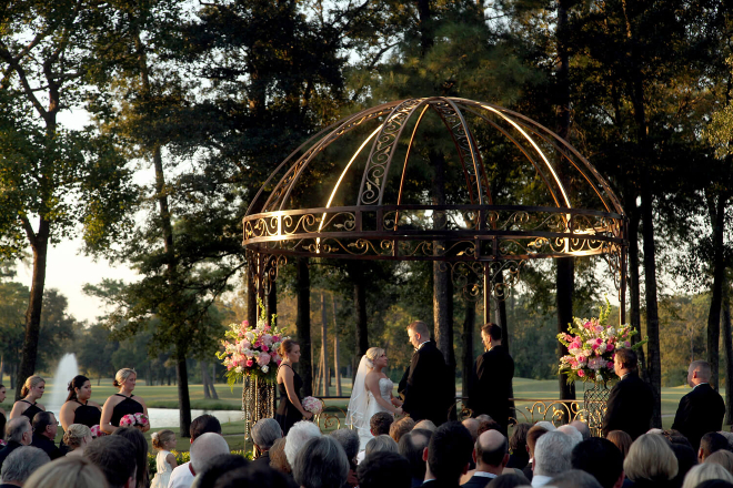 houston country club wedding outdoor ceremony pergola