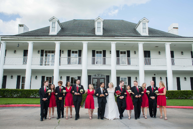columns mansion Houston country club wedding red white black
