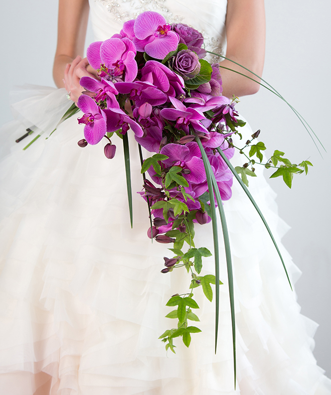 wedding bouquet, bride, purple, orchids, bridal bouquets