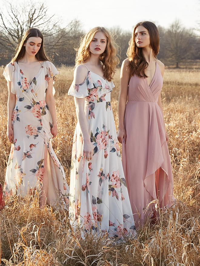 floral print bridesmaid dress long flutter sleeves pastel blush green white