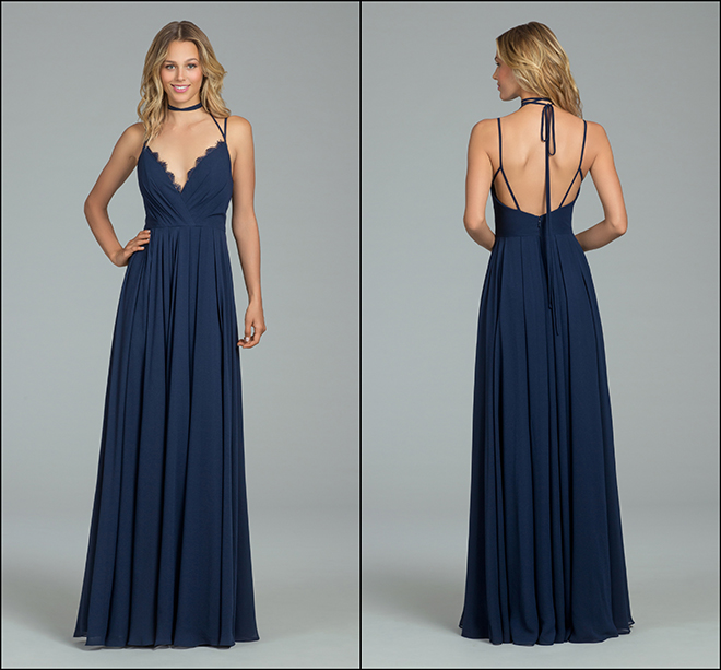 bridesmaid dress hayley paige plunge comfortable flowing choker open back