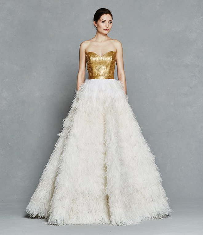 Gold Wedding Dress, Designer Gown, Feathers, Strapless, Kelly Faetanini