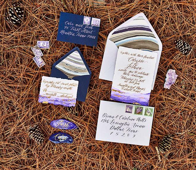 purple and gold wedding shoot invitations rustic elegant texas