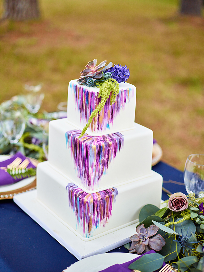 purple and gold styled wedding cake watercolor succulent rust outdoor reception texas