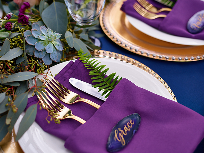 purple and gold styled wedding fern place setting gold cutlery sandlewood manor