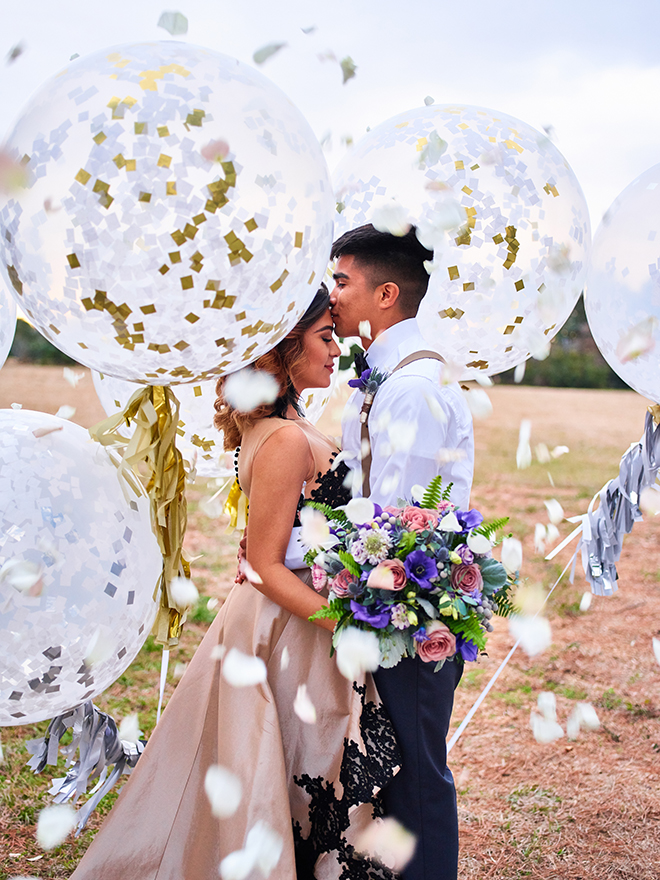 purple gold styled shoot wedding texas balloons outdoor rustic succulents watercolor cake