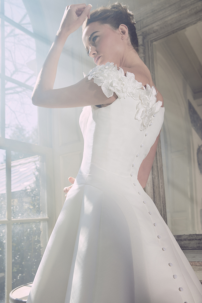 Sareh Nouri At Joan Pillow Spring 2019 Ophelia white off-the-shoulders wedding dress A-line skirt back floral embroidered detailing buttons down the back