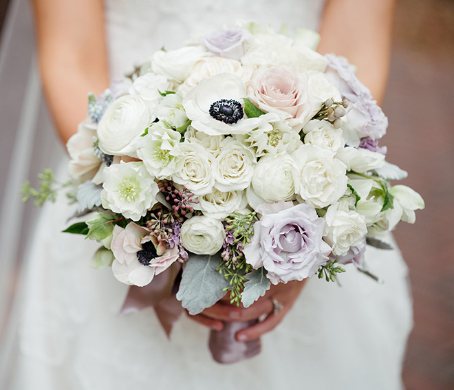 bridal bouquet purple white black anemones roses hand tied todd events, bridal bouquets