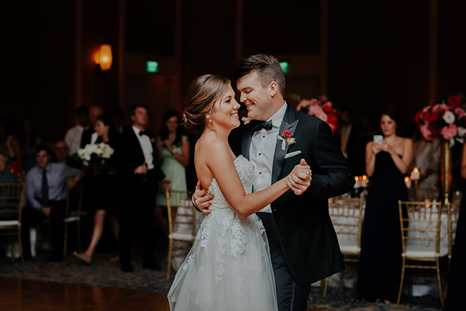 real wedding houston wedding the woodlands resort & conference center first dance bride and groom reception dance floor