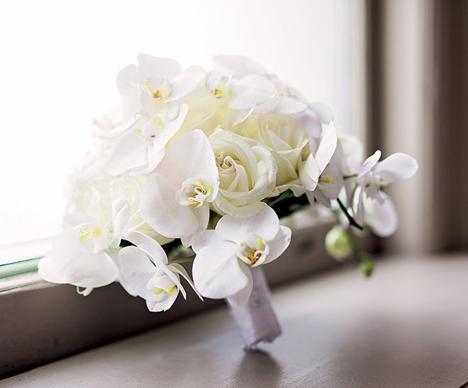 wedding bouquet, white, orchids, plants n'petals, bridal bouquets