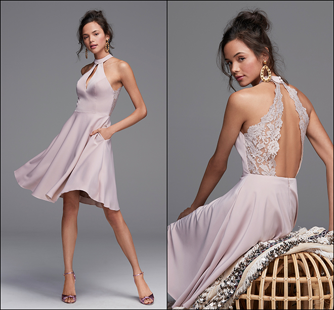 bridesmaids, fashion, dresses, short dress, pink, halter, Watters