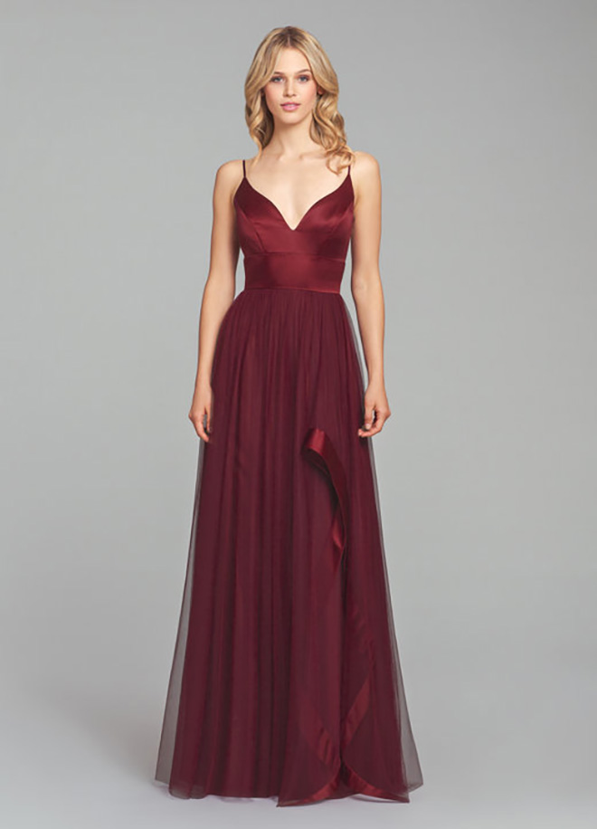 V-neck, bridesmaid dress straps plunge formal red crimson scarlet burgundy
