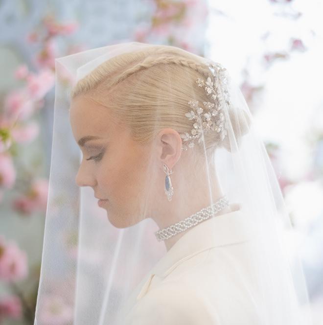 bridal hair and makeup wedding beauty braided updo bun maria elena headpiece bridal hair accessory
